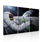Astronaut with Beer Moon & Earth Canvas Abstract Modern Home Office Art 3pc
