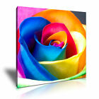 Rainbow Rose Colorful Flower Canvas Modern Home Office Wall Art Deco