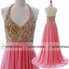 Sexy Halter Backless Prom Evening Dresses Coral Long Party Beaded Top Gowns 2015