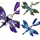 1pcs Dragonfly Charms Necklace Chain Rhinestone Inlay Gemtone Pendant Jewelry