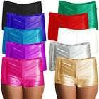 Womens Metallic Hot Pants Ladies Shiny Fancy Dress Costume Party Wet Look Shorts