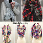 sca3.4.5 Celeb Style Oversized Plaid Tartan Pattern Soft Blanket Scarf & Wrap