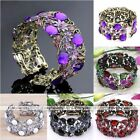 Vintage Bronze Crystal Faceted Resin Flower Wrap Cuff Archaise Bracelet Bangle