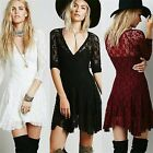 3 Colour Sexy V-neck 3/4 Sleeve Floral Lace A-line Mini Dress 6 8 10 12 14 16 18