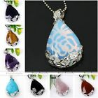 1x Natural Gemstone Teardrop Copper Flower Wrap Bead Pendant Charms For Necklace