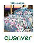 Single/Queen/King Bed Quilt/Doona/Duvet Cover Set Fitted Sheet 100%Cotton Flower