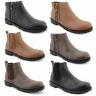 Womens Ladies Low Flat Heel Pull On Stretch Chelsea Ankle Riding Boots Shoes
