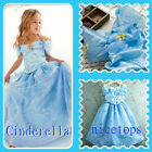 Disney Cinderella Princess Costume Halloween Birthday Party Dresses SIZE 4 to 9Y
