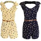 Women's Belted Frill Front Cut Out Back Nautical Swallow Print Ladies Playsuit