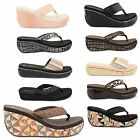 WOMENS LADIES DUNLOP SLIP ON FLIP FLOP SUMMER BEACH WEDGE SANDALS OPEN TOE SHOES