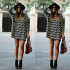 Women Stripe Chiffon Loose 3/4 Sleeve Long Top Blouse T Shirt Jumper Tunic Dress