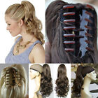 Women&Girls Claw Ponytail Clip In Hair Extensions Long Straight Curly 30+Color