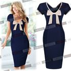 Ladies Vintage Elegant Bow Decorated Casual Work Wear Business Party Dresses
