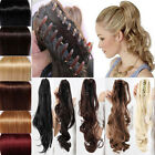 Long Real Natural clip in claw ponytail hair extension Synthetic Brown Blonde MU