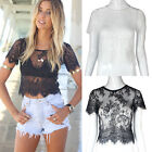 Summer Women Casual Shirt Short Sleeve Crop Top Hollow Out Lace Blouse Trendy