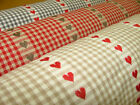 Scandinavian Woven Check With Hearts Cotton Curtain Upholstery Designer Fabric