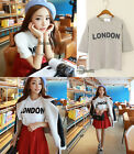 Hot 1*Women Girls Loose Top Blouse Short Sleeve Letters Print Crew Neck T-shirt