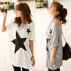 2 Color Womens Star Print Loose Tops Batwing Dolman Short Sleeve T Shirt  Blouse