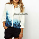Hot Europe Style Womens Flower Print Chiffon Long Sleeve Blouse T-shirt Tops