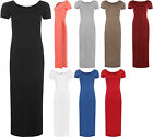 New Womens Short Sleeve Long Plain Side Slit Top Ladies Split Maxi Dress 8-14