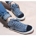 Denim Canvas High-top Sneakers Women Lace Up Round Toe flats Casual Shoes boots