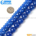 "Free Shipping Round Gemstone Blue Agate Beads Strand 15""Selectable Size"