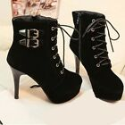 Fashion Womens Winter High Heel Suede Zipper Lace Up Platform Ankle Boots Shoes