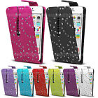 Bling Diamond Flip Leather Case Diamante Cover For HTC Various Models Phones