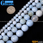 "Natural Round Sky Blue Agate Beads Jewelry Making Gemston Beads15""Free Shipping"