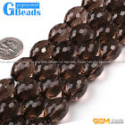 "Natural Olivary Faceted Gemstone Smoky Quartz Beads 15""Free Shipping GBeads"