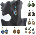 Fashion Womens Crystal Colorful Peacock feathers Dangle Waterdrop Stud Earrings