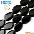 "Oval Twist Black Agate Loose Gemstone Beads Strand 15""Free Shipping"
