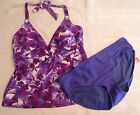 TROPICAL ESCAPE Size 8 10 or 12 Choice Halter Swim Top Purple Scoop Panty NWT