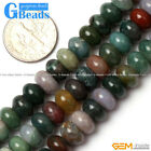 """Natural Roundel Rondelle Gemstone Indian Agate Beads Strand 15""""Free Shipping"""