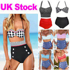 UK Beach Style Vintage High Waist Halterneck Top Bikini Set padded Swimwear Sexy
