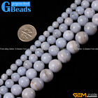 "Round Blue Chalcedony Gemstone Beads For Jewelry Making Strand 15"" Free Shipping"