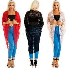 Womens Ladies Open Front Floral Lace Batwing Boyfrinend Long Cardigan Size S M L