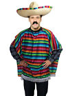 Adult Mexican Poncho Wild West Fancy Dress Costume Mens Western Stag Party New