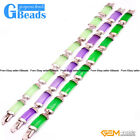 Fashion Jewelry Link Jade Bracelet Rectangle Stone Beads Gold Plated 10x19mmx7""