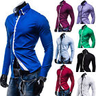 Mens Pure Color Double Collar Long Sleeve leisure Slim Casual Dress Shirt