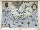1590 Vintage Colonial Map Virginia & Carolina Chesapeake Hatteras Largest Sizes
