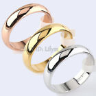 Men's & Women's 2.6mm 4.5mm 5.5mm Width Plain Engagement Wedding Band Ring 18KGP