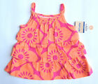 NWT: New Carter's Bright Orange Pink Floral Ruffle Shirt, 12 month, Rtl $18