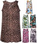Womens Plus Size Animal Floral Print Ladies Sleeveless Ruched Gathered Vest Top