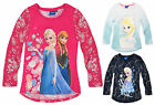 Girls Disney Princess Frozen Long Sleeve T Shirt New Kids Top Ages 4 5 6 8 Years
