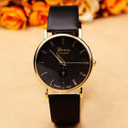 Geneva Mens Watches Women's Leather STYLISH Dress Quartz BLACK Wrist Watch Box