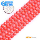 Pink Coral Gemstone Faceted Round Beads For Jewelry Making Free Shipping 15""