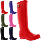 Womens 100% Natural Rubber Gloss Waterproof Knee High Welly Snow Rain Boots 3-9