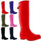 Womens 100% Rubber Adjustable Back Wide Fit Festival Welly Snow Rain Boots 3-9