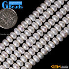 "Natural 6-7mm Cultured Pearl Gemstone Rondelle Beads For Jewelry Making 15"" GB"